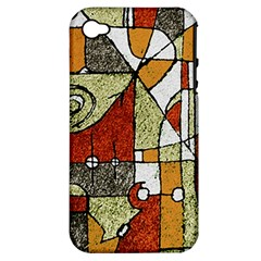 Multicolored Abstract Tribal Print Apple Iphone 4/4s Hardshell Case (pc+silicone) by dflcprints