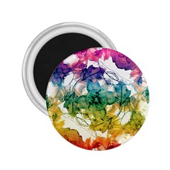 Multicolored Floral Swirls Decorative Design 2 25  Button Magnet by dflcprints