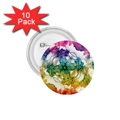 Multicolored Floral Swirls Decorative Design 1 75  Button (10 Pack) by dflcprints