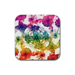 Multicolored Floral Swirls Decorative Design Drink Coaster (square) by dflcprints
