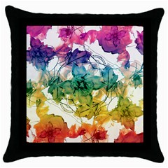 Multicolored Floral Swirls Decorative Design Black Throw Pillow Case by dflcprints