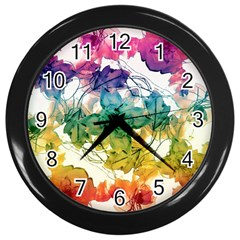 Multicolored Floral Swirls Decorative Design Wall Clock (black) by dflcprints