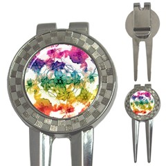 Multicolored Floral Swirls Decorative Design Golf Pitchfork & Ball Marker by dflcprints
