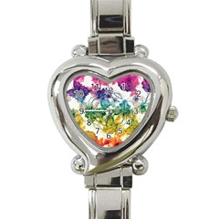 Multicolored Floral Swirls Decorative Design Heart Italian Charm Watch  by dflcprints