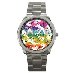 Multicolored Floral Swirls Decorative Design Sport Metal Watch by dflcprints