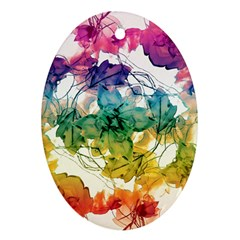 Multicolored Floral Swirls Decorative Design Oval Ornament (two Sides) by dflcprints