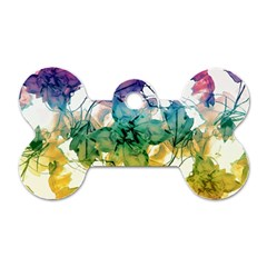 Multicolored Floral Swirls Decorative Design Dog Tag Bone (two Sided) by dflcprints