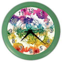 Multicolored Floral Swirls Decorative Design Wall Clock (color) by dflcprints