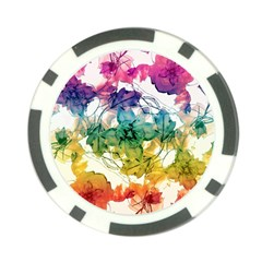 Multicolored Floral Swirls Decorative Design Poker Chip by dflcprints