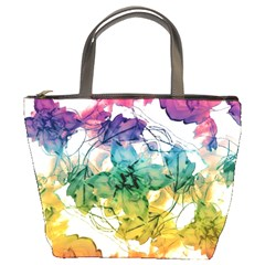 Multicolored Floral Swirls Decorative Design Bucket Handbag by dflcprints