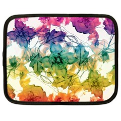 Multicolored Floral Swirls Decorative Design Netbook Sleeve (xl) by dflcprints
