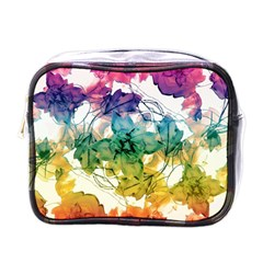Multicolored Floral Swirls Decorative Design Mini Travel Toiletry Bag (one Side) by dflcprints