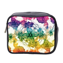 Multicolored Floral Swirls Decorative Design Mini Travel Toiletry Bag (two Sides) by dflcprints