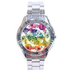 Multicolored Floral Swirls Decorative Design Stainless Steel Watch by dflcprints
