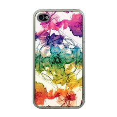 Multicolored Floral Swirls Decorative Design Apple Iphone 4 Case (clear) by dflcprints