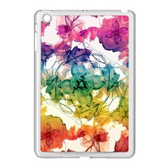 Multicolored Floral Swirls Decorative Design Apple Ipad Mini Case (white) by dflcprints