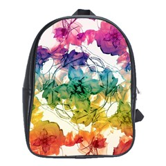 Multicolored Floral Swirls Decorative Design School Bag (xl) by dflcprints