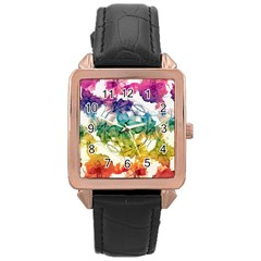 Multicolored Floral Swirls Decorative Design Rose Gold Leather Watch  by dflcprints