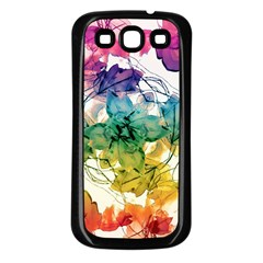 Multicolored Floral Swirls Decorative Design Samsung Galaxy S3 Back Case (black) by dflcprints