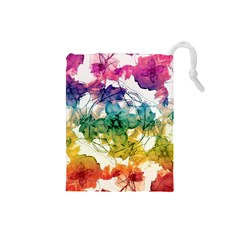 Multicolored Floral Swirls Decorative Design Drawstring Pouch (small) by dflcprints