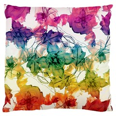 Multicolored Floral Swirls Decorative Design Large Flano Cushion Case (one Side) by dflcprints