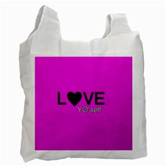 Love Yo self  White Reusable Bag (one Side) by OCDesignss