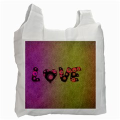 Love Abstract  White Reusable Bag (one Side) by OCDesignss