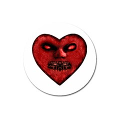 Evil Heart Shaped Dark Monster  Magnet 3  (round) by dflcprints