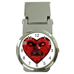 Evil Heart Shaped Dark Monster  Money Clip With Watch