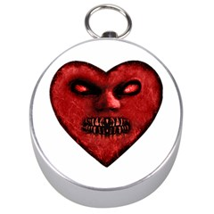 Evil Heart Shaped Dark Monster  Silver Compass by dflcprints