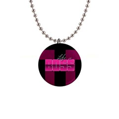 Like A Boss Shiny Pink Button Necklace