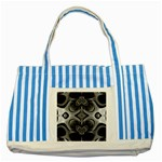 Crazy Black&white Fractal Blue Striped Tote Bag Front