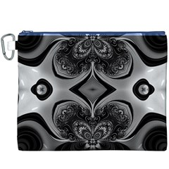 Crazy Black&white Fractal Canvas Cosmetic Bag (xxxl) by OCDesignss