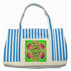 Florescent Abstract  Blue Striped Tote Bag by OCDesignss
