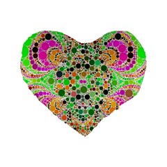 Florescent Abstract  Standard Flano Heart Shape Cushion  by OCDesignss
