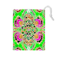Florescent Abstract  Drawstring Pouch (large) by OCDesignss