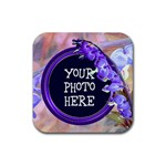 Purple BleedingHeart Rubber Square Coaster - Rubber Coaster (Square)