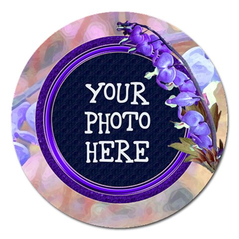 Purple Bleedingheart Magnet 5  Round By Chere s Creations   Magnet 5  (round)   Vr10yul030tq   Www Artscow Com Front