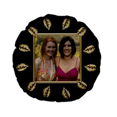 Black And Gold Standard Flano Round Cushion By Deborah   Standard 15  Premium Flano Round Cushion    Wg9kpmq0cebl   Www Artscow Com Back