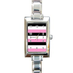 Black, Pink And White Stripes  By Celeste Khoncepts Com 20x28 Rectangular Italian Charm Watch by Khoncepts