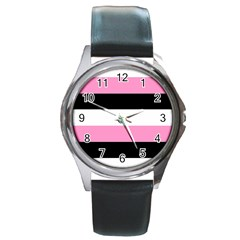 Black, Pink And White Stripes  By Celeste Khoncepts Com 20x28 Round Leather Watch (Silver Rim) by Khoncepts