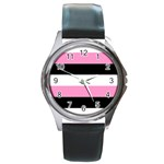 Black, Pink And White Stripes  By Celeste Khoncepts Com 20x28 Round Leather Watch (Silver Rim)