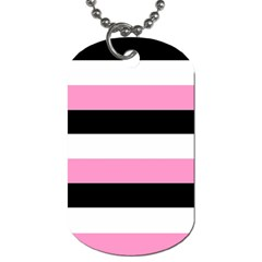 Black, Pink And White Stripes  By Celeste Khoncepts Com 20x28 Dog Tag (one Sided) by Khoncepts