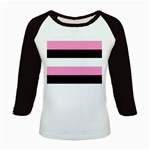 Black, Pink And White Stripes  By Celeste Khoncepts Com 20x28 Kids Long Cap Sleeve T-Shirt