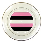 Black, Pink And White Stripes  By Celeste Khoncepts Com 20x28 Porcelain Display Plate