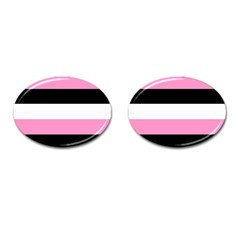 Black, Pink And White Stripes By Celeste Khoncepts Com Cufflinks (oval) by Khoncepts