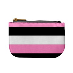 Black, Pink And White Stripes By Celeste Khoncepts Com Mini Coin Purse by Khoncepts