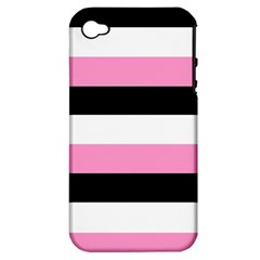 Black, Pink And White Stripes By Celeste Khoncepts Com Apple Iphone 4/4s Hardshell Case (pc+silicone) by Khoncepts