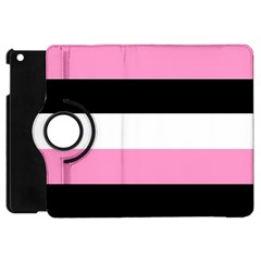 Black, Pink And White Stripes By Celeste Khoncepts Com Apple Ipad Mini Flip 360 Case by Khoncepts