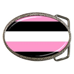 Black, Pink And White Stripes  By Celeste Khoncepts Com 20x28 Belt Buckle (oval)